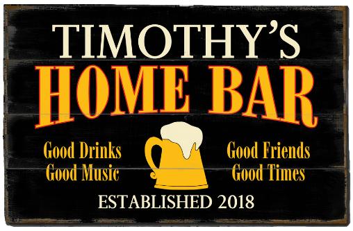 Personalized Home Bar Planked Wood Sign - Beer Mug - LARGE