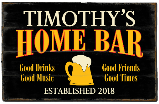 Personalized Home Bar Planked Wood Sign - Beer Mug - LARGE