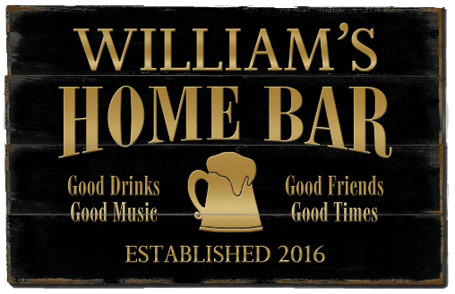 Personalized Home Bar Planked Wood Sign - Gold Beer Mug - LARGE