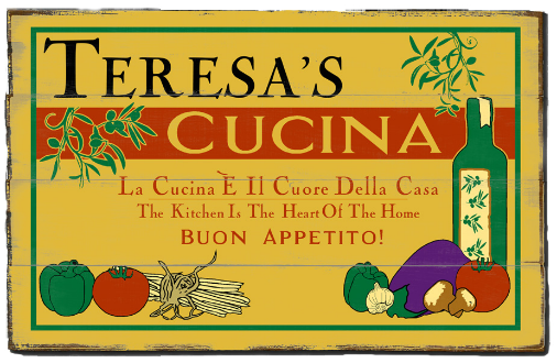 Personalized Cucina Buon Appetito Planked Wood Sign - LARGE