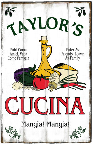 Personalized Cucina Mangia Planked Wood Sign