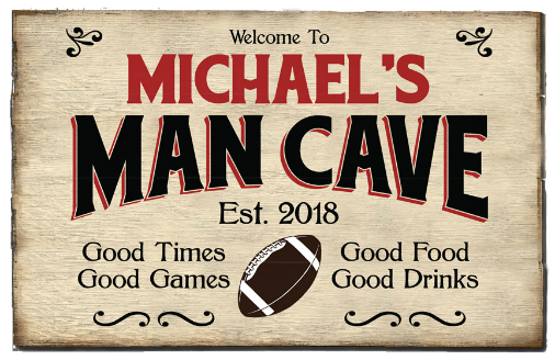 Personalized Man Cave Planked Wood Sign - Football - LARGE