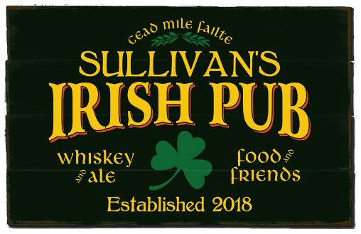 Personalized Irish Pub Planked Wood Sign - LARGE
