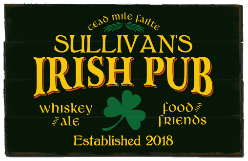 Personalized Irish Pub Planked Wood Sign - LARGE
