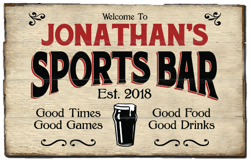 Personalized Sports Bar Planked Wood Sign - Beer - LARGE