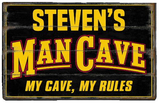 Personalized Man Cave Planked Wood Sign - My Cave My Rules