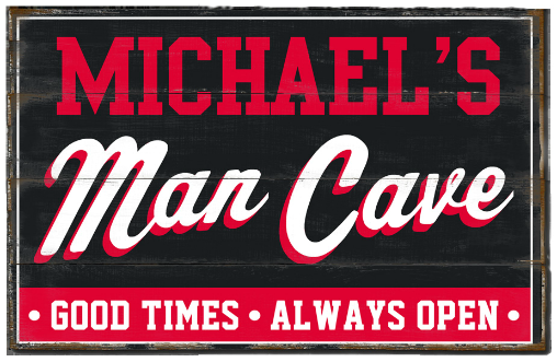 Personalized Man Cave Planked Wood Sign - Good Times, Always Open