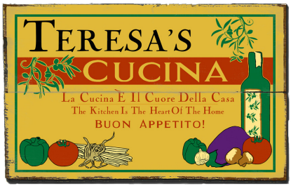 Personalized Cucina Buon Appetito Planked Wood Sign - 2 Planked