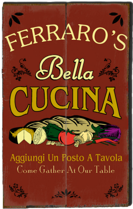 Personalized Bella Cucina Planked Wood Sign - 2 Planked