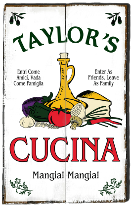 Personalized Cucina Mangia Planked Wood Sign - 2 Planked