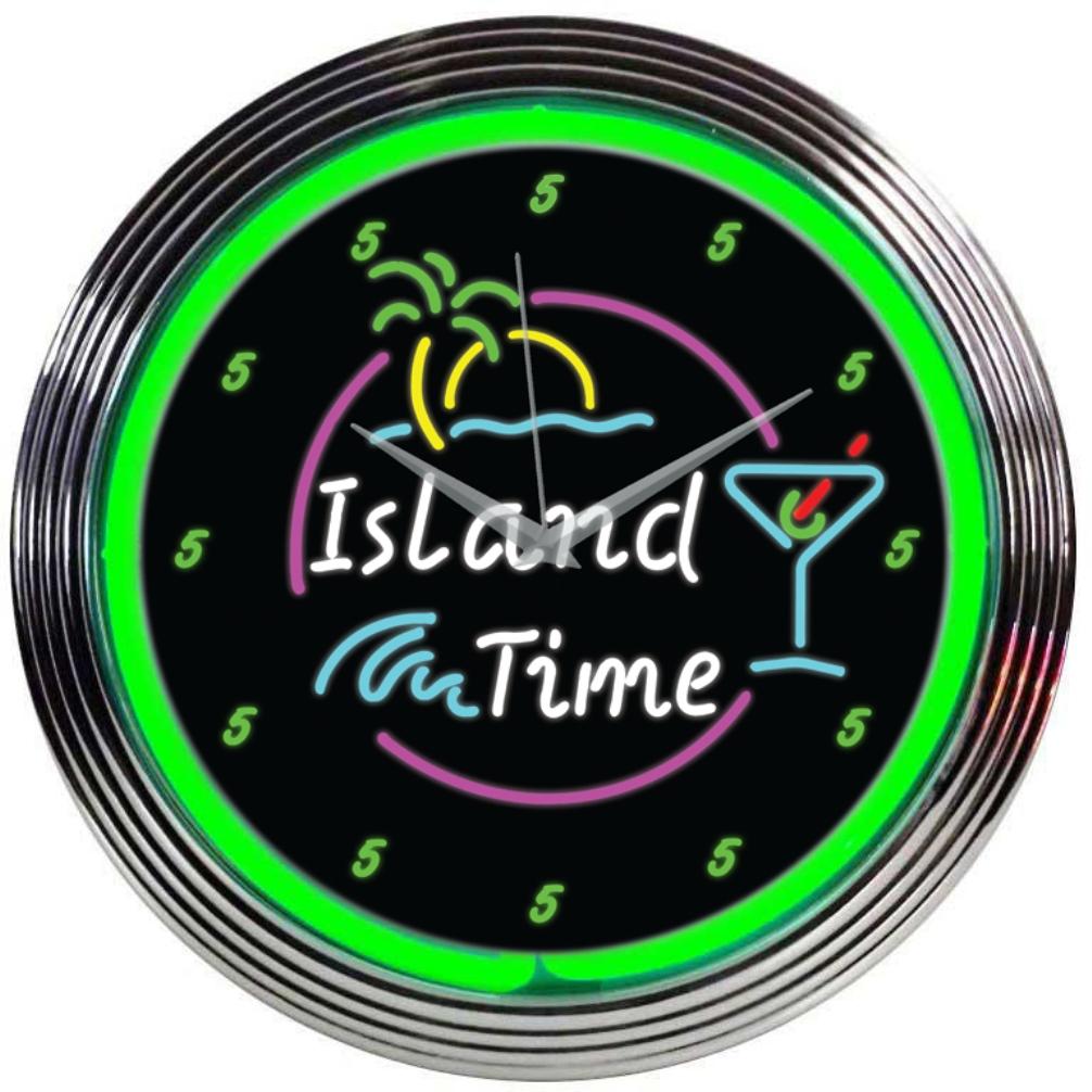 Island Time Neon Clock