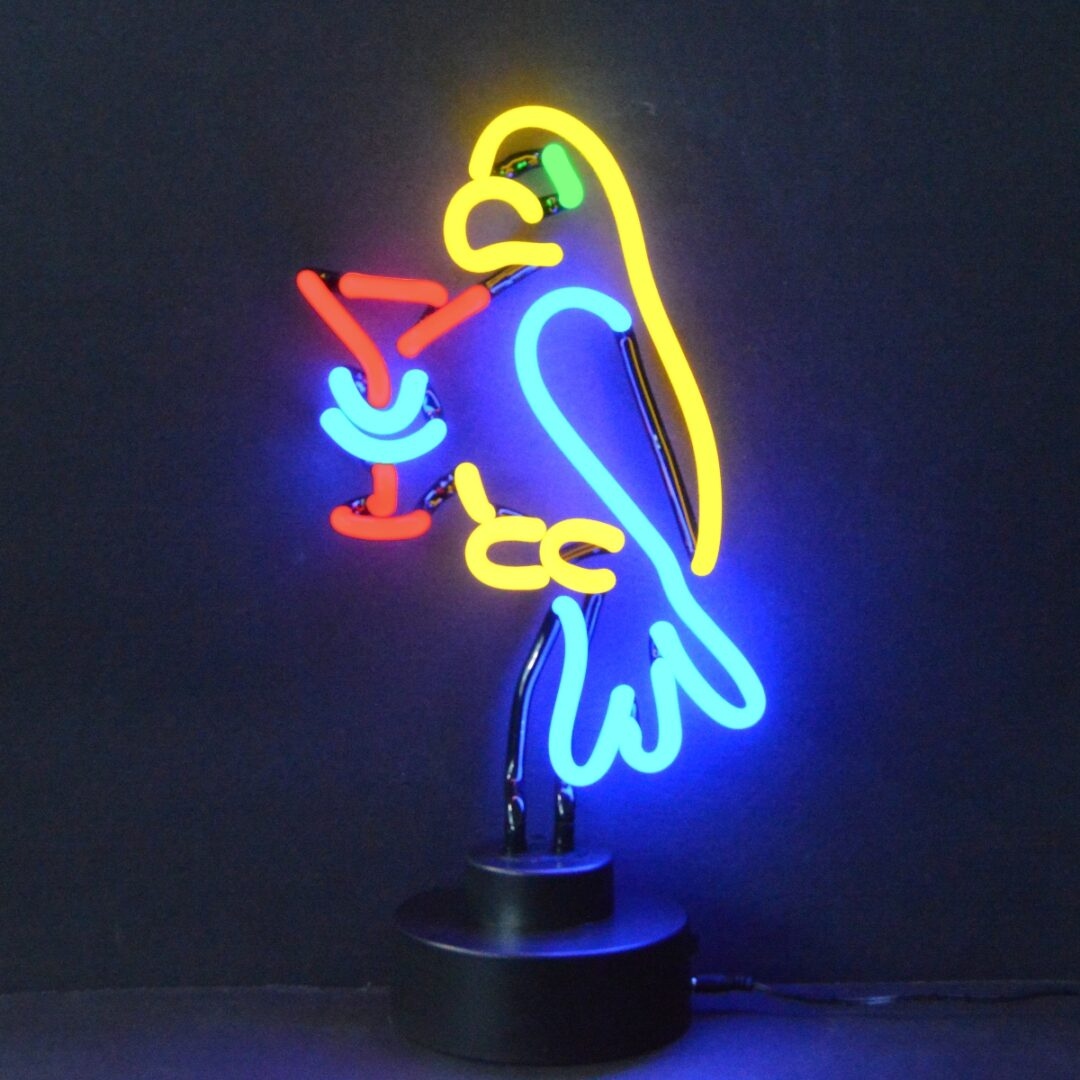 Drinking Parrot Neon Tabletop Sign