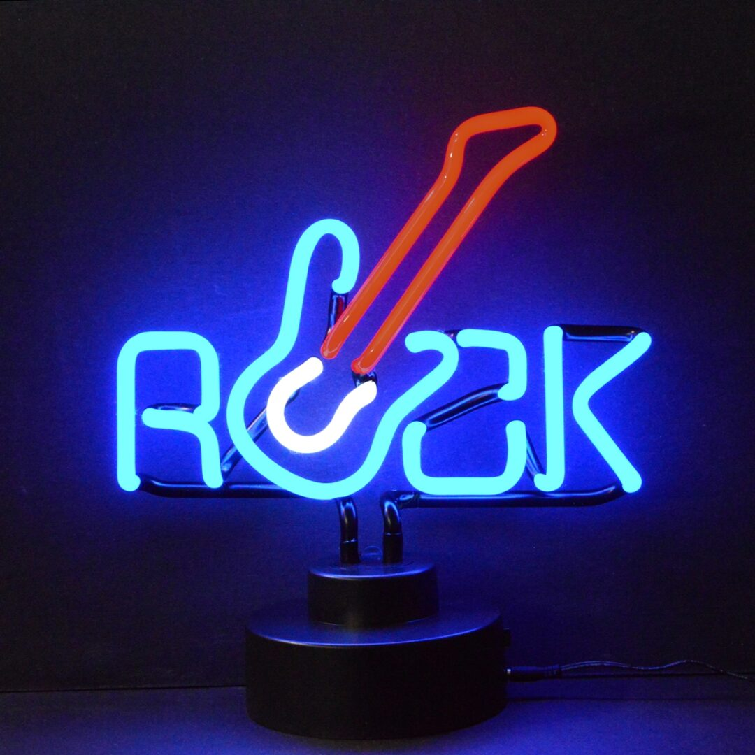 Rock Guitar Neon Tabletop Sign