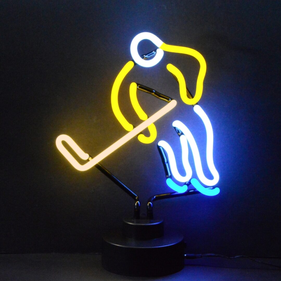 Hockey Player Neon Tabletop Sign