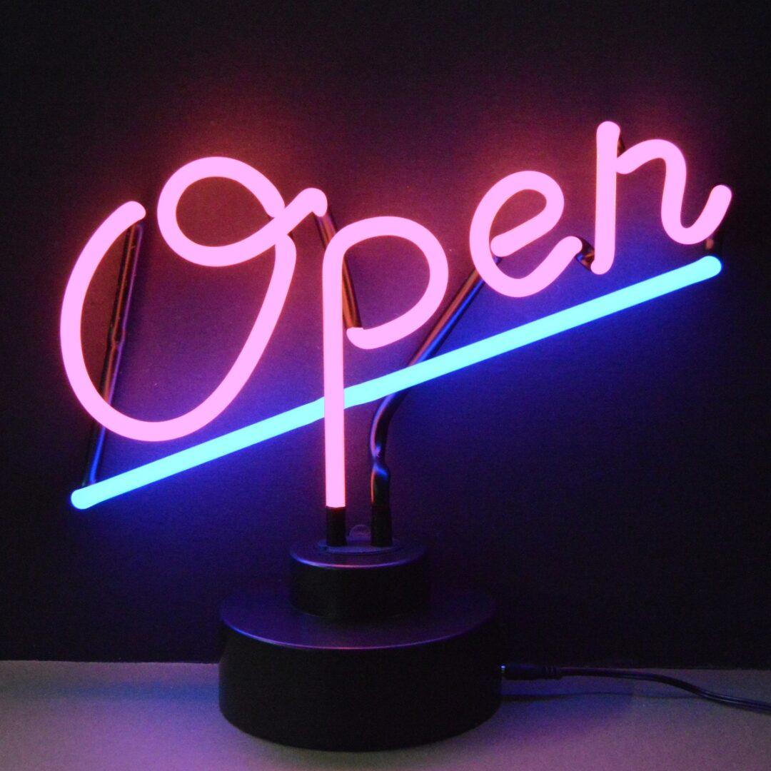Open Neon Tabletop Sign
