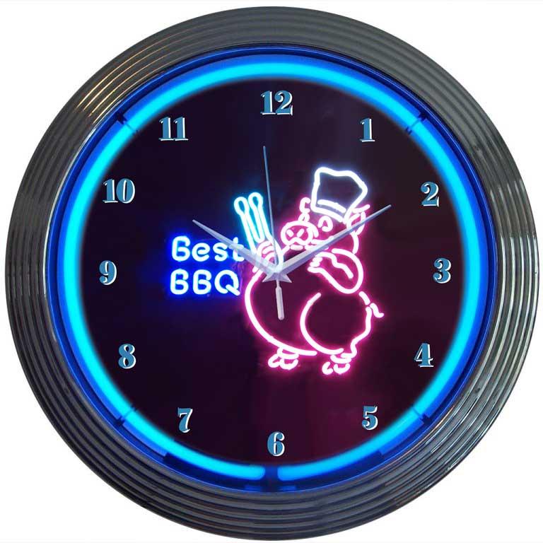 BBQ Pig Neon Clock