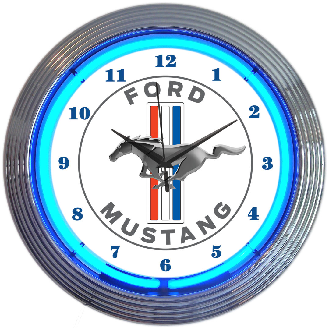 Ford Mustang Neon Clock - Blue Neon