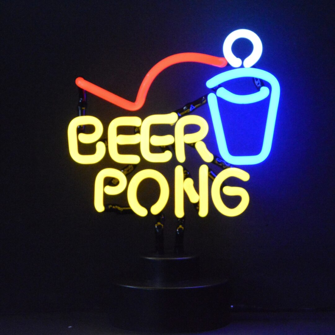 Beer Pong Neon Tabletop Sign