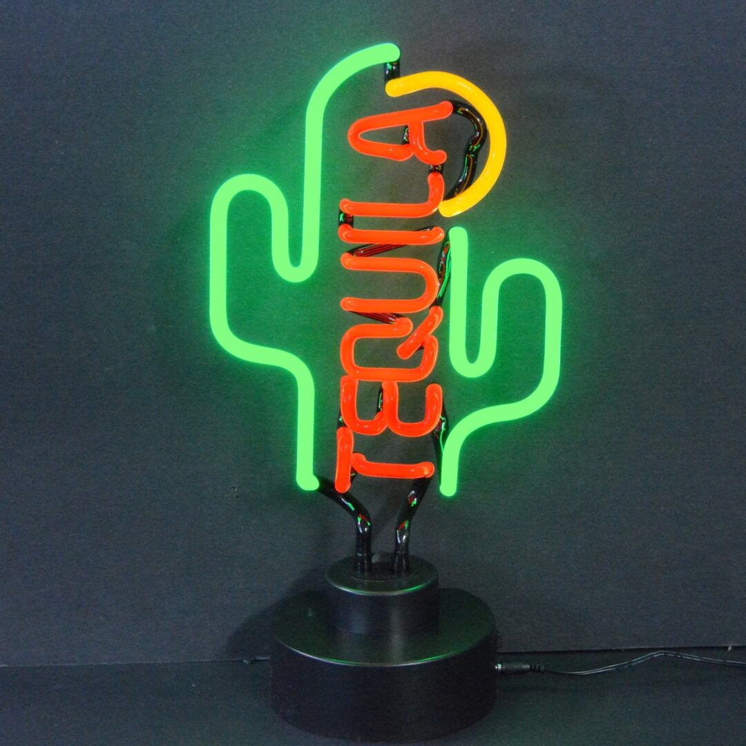 Tequila Cactus Neon Tabletop Sign
