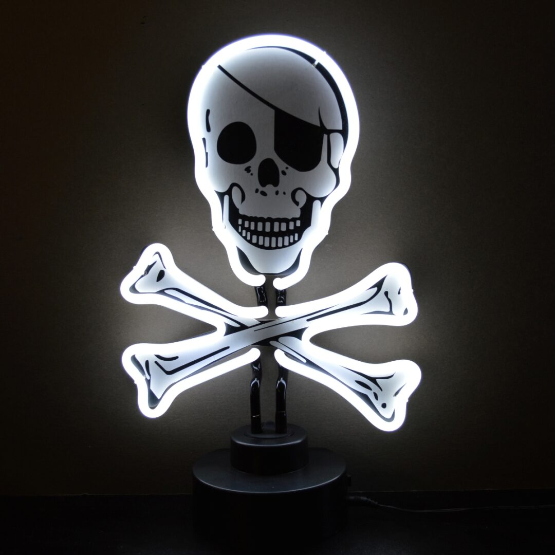 Skull and Crossbones Neon Tabletop Sign