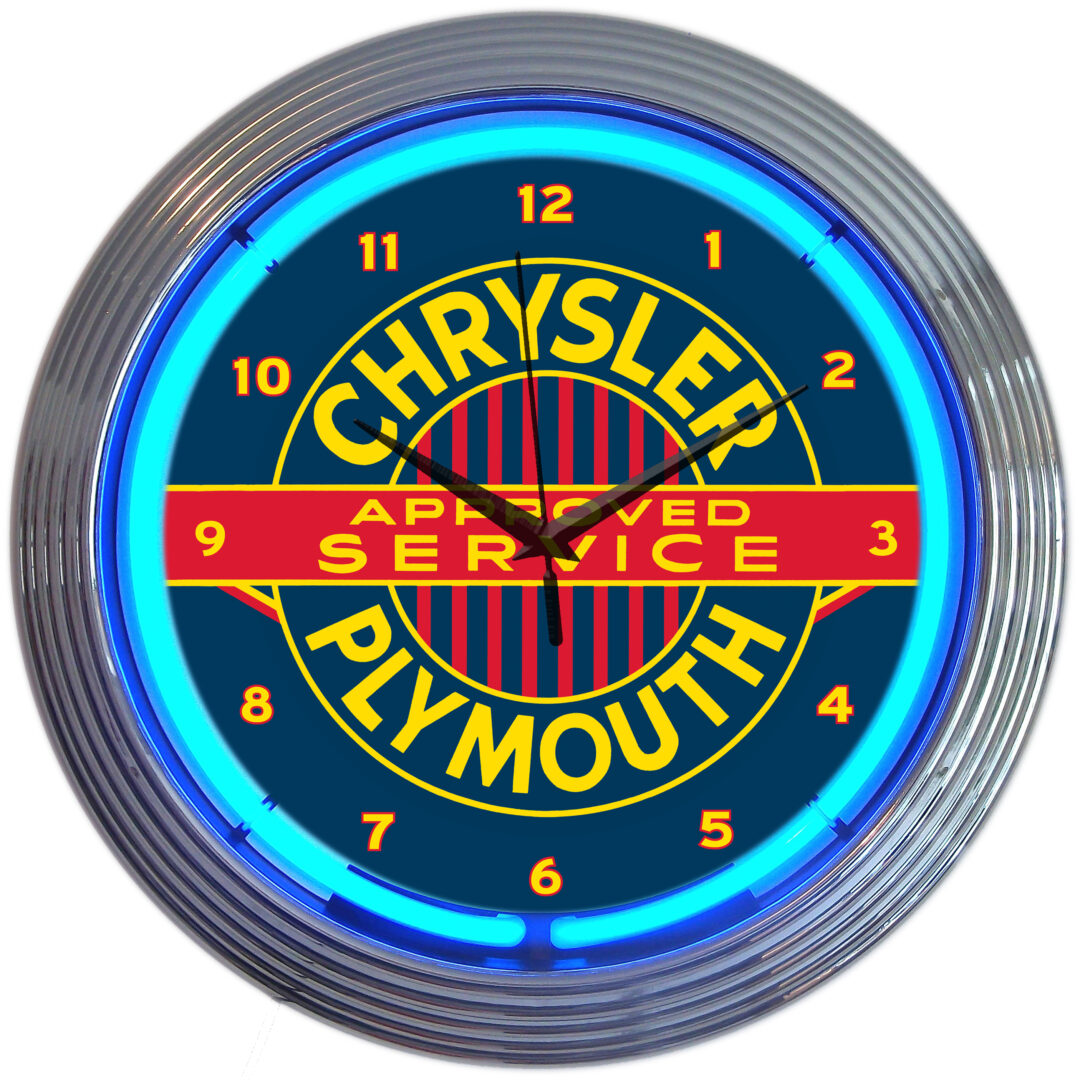Chrysler Plymouth Approved Service Neon Clock