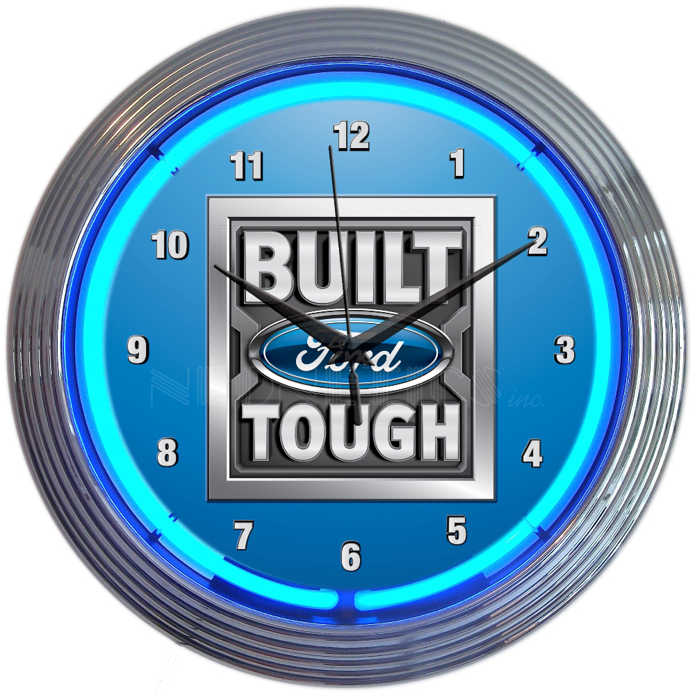 Ford Built Ford Tough Neon Clock