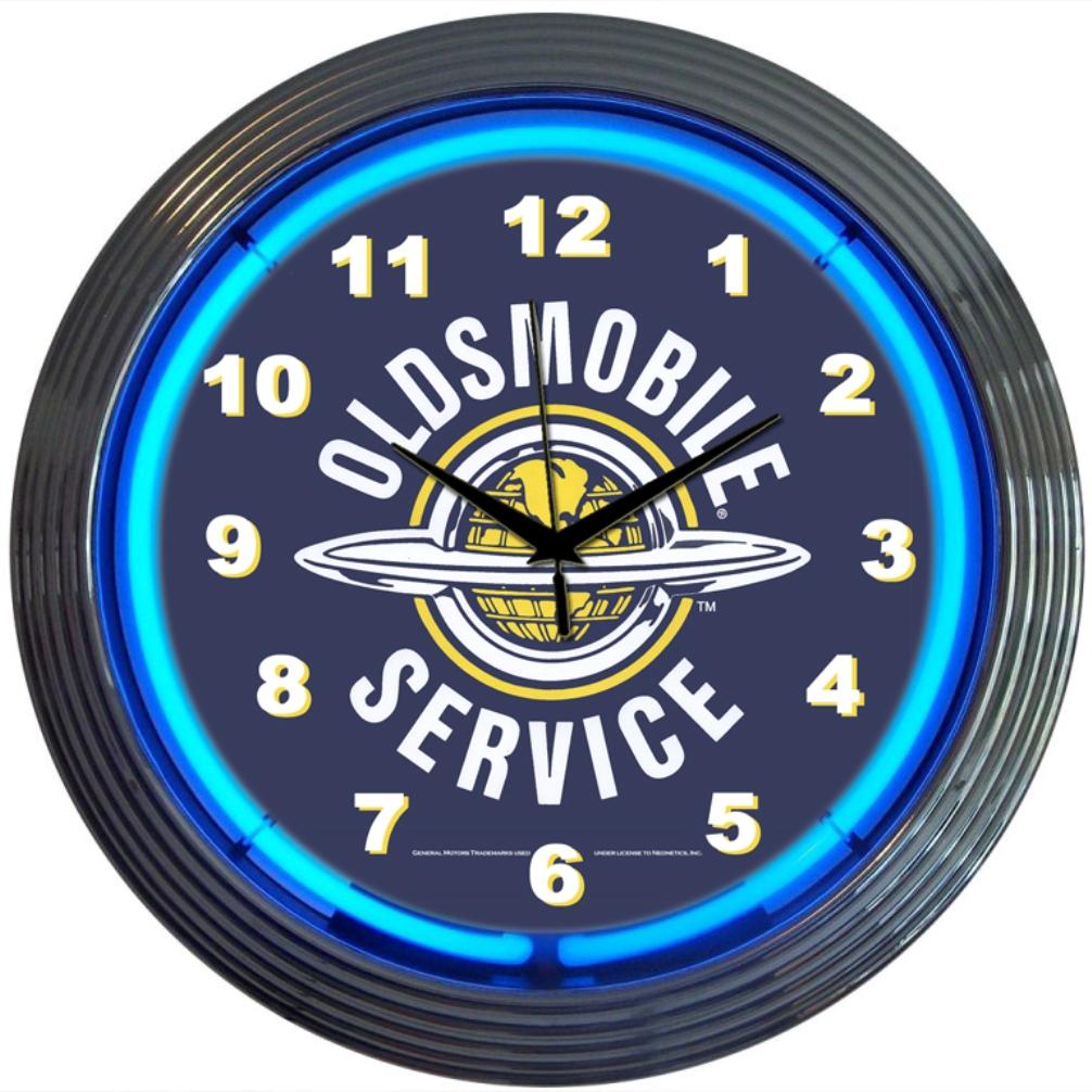 Oldsmobile Service Neon Clock
