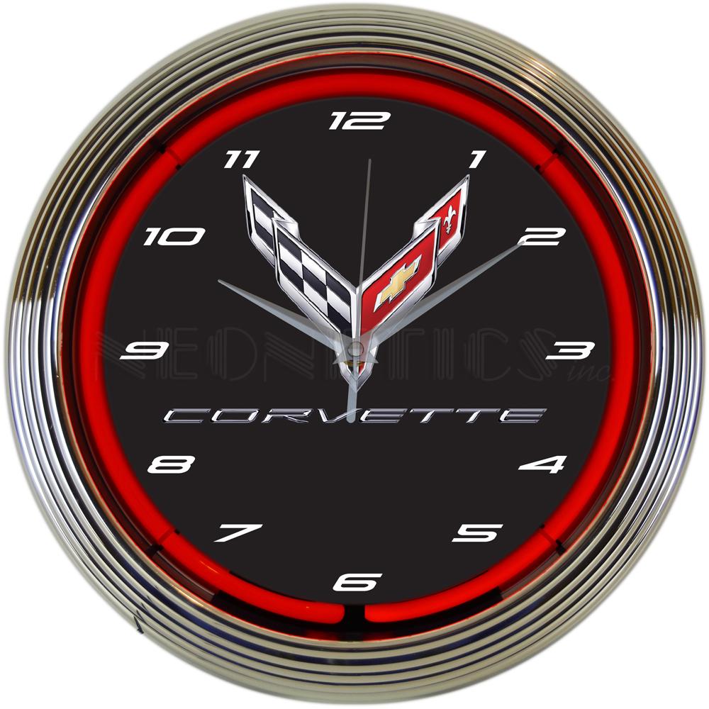 Corvette C8 Neon Clock