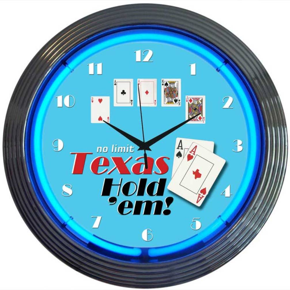 Texas Hold 'Em Poker Neon Clock