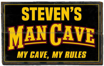 Personalized Man Cave Planked Wood Sign - My Cave My Rules  - 2 Planked