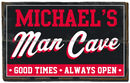 Personalized Man Cave Planked Wood Sign - Good Times, Always Open  - 2 Planked