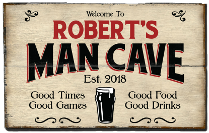 Personalized Man Cave Planked Wood Sign - Beer - 2 Planked