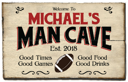 Personalized Man Cave Planked Wood Sign - Football  - 2 Planked