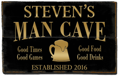 Personalized Man Cave Planked Wood Sign - Beer Mug  - 2 Planked