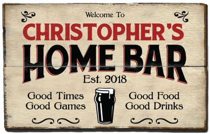 Personalized Home Bar Planked Wood Sign - Beer  - 2 Planked