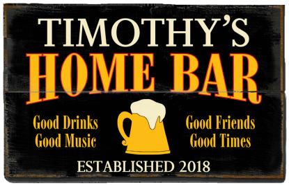 Personalized Home Bar Planked Wood Sign - Beer Mug  - 2 Planked