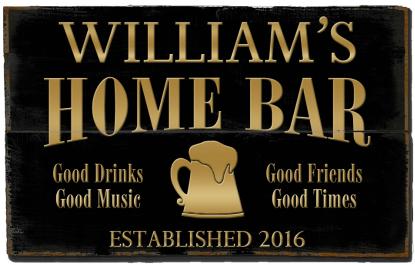 Personalized Home Bar Planked Wood Sign - Gold Beer Mug  - 2 Planked