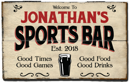 Personalized Sports Bar Planked Wood Sign - Beer - 2 Planked