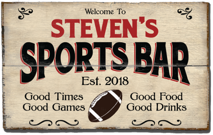 Personalized Sports Bar Planked Wood Sign - Football  - 2 Planked
