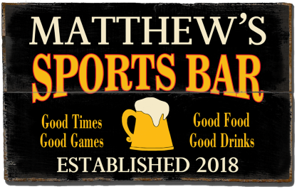 Personalized Sports Bar Planked Wood Sign - Beer Mug - 2 Planked