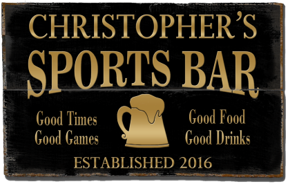 Personalized Sports Bar Planked Wood Sign - Gold Beer Mug - 2 Planked