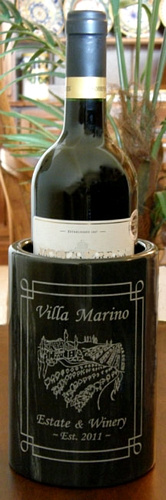 Personalized Tuscan Villa Marble Wine Bottle Holder