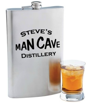 Personalized Man Cave Distillery Stainless Steel Flask - 12 oz. pictured (shot glass not included)