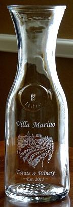 Personalized Tuscan Villa 1 Liter Embossed Carafe