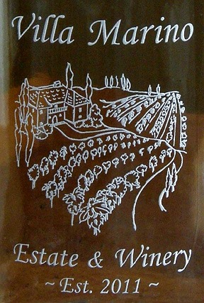 Personalized Tuscan Villa 1 Liter Embossed Carafe Close Up
