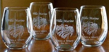 Personalized Tuscan Villa Stemless Wine Glasses