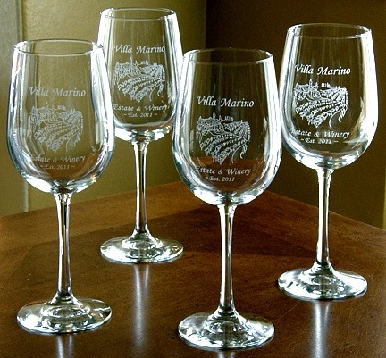 Personalized Tuscan Villa Wine Glasses