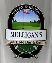 Personalized 19th Hole Bar & Grill Golf Glass Pitcher Personalized 19th Hole Bar & Grill Golf Pint Glasses - Close Up
