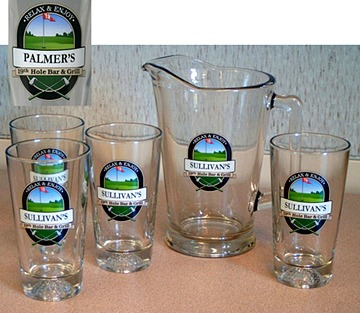 Personalized 19th Hole Bar & Grill Golf Glass Pitcher Personalized 19th Hole Bar & Grill Golf Full Set