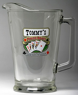 Personalized Poker Room Glass Pitcher